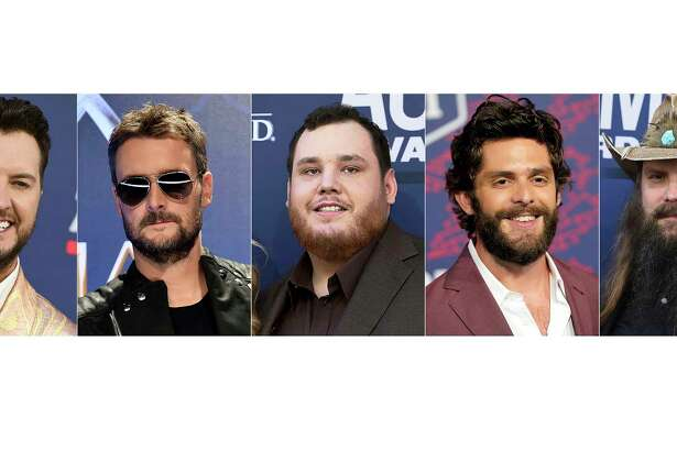 This combination photo shows, from left, Luke Bryan, Eric Church, Luke Combs, Thomas Rhett and Chris Stapleton, nominees for entertainer of the year at this years ACM Awards.