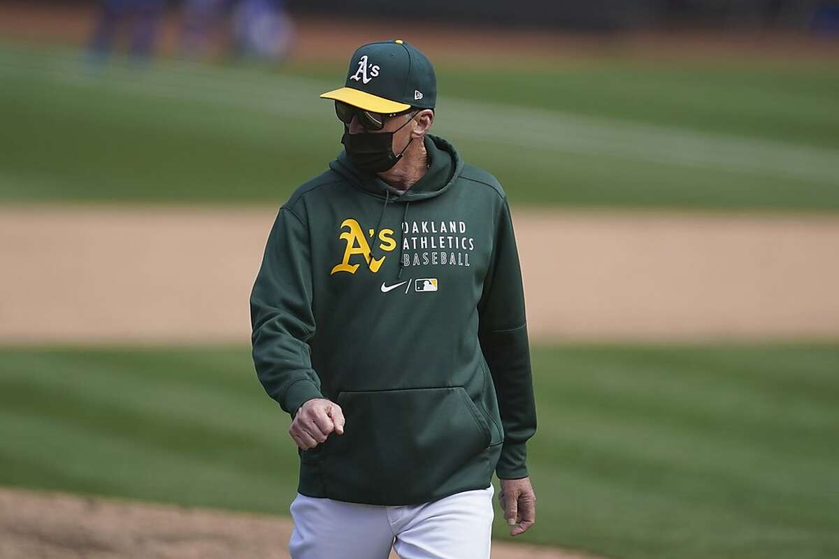 Oakland Athletics manager Bob Melvin against the Los Angeles Dodgers during a baseball game in Oakland, Calif., Wednesday, April 7, 2021. (AP Photo/Jeff Chiu)