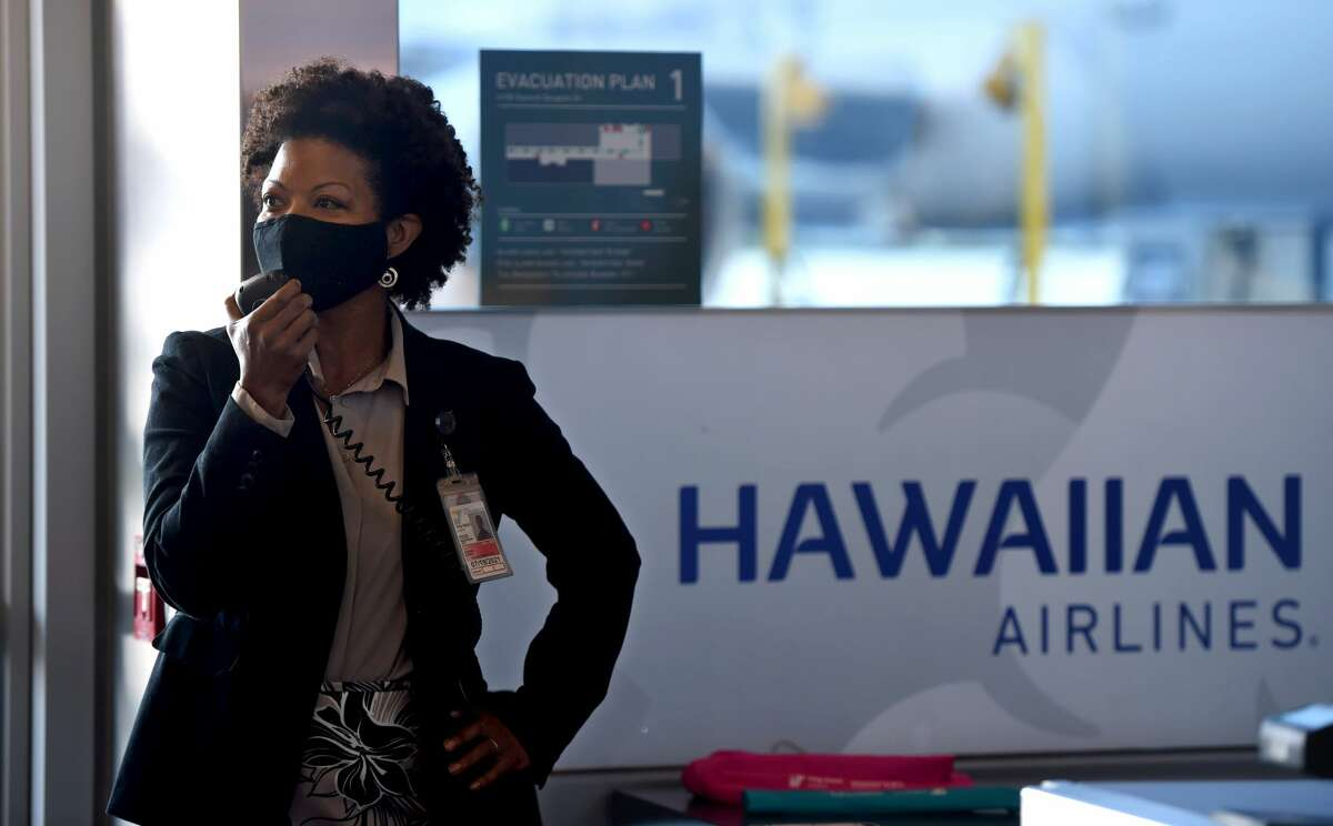 """LONG BEACH, CA - MARCH 10: Cynthia Guidry, Director of the Long Beach Airport, welcomes travelers and staff of Hawaiian Airlines on Hawaiian Airlines """"2019 inaugural service to Maui Kahului Airport"""" in Long Beach on Wednesday, March 10, 2021. (Photo by Brittany Murray/MediaNews Group/Long Beach Press-Telegram via Getty Images)"""