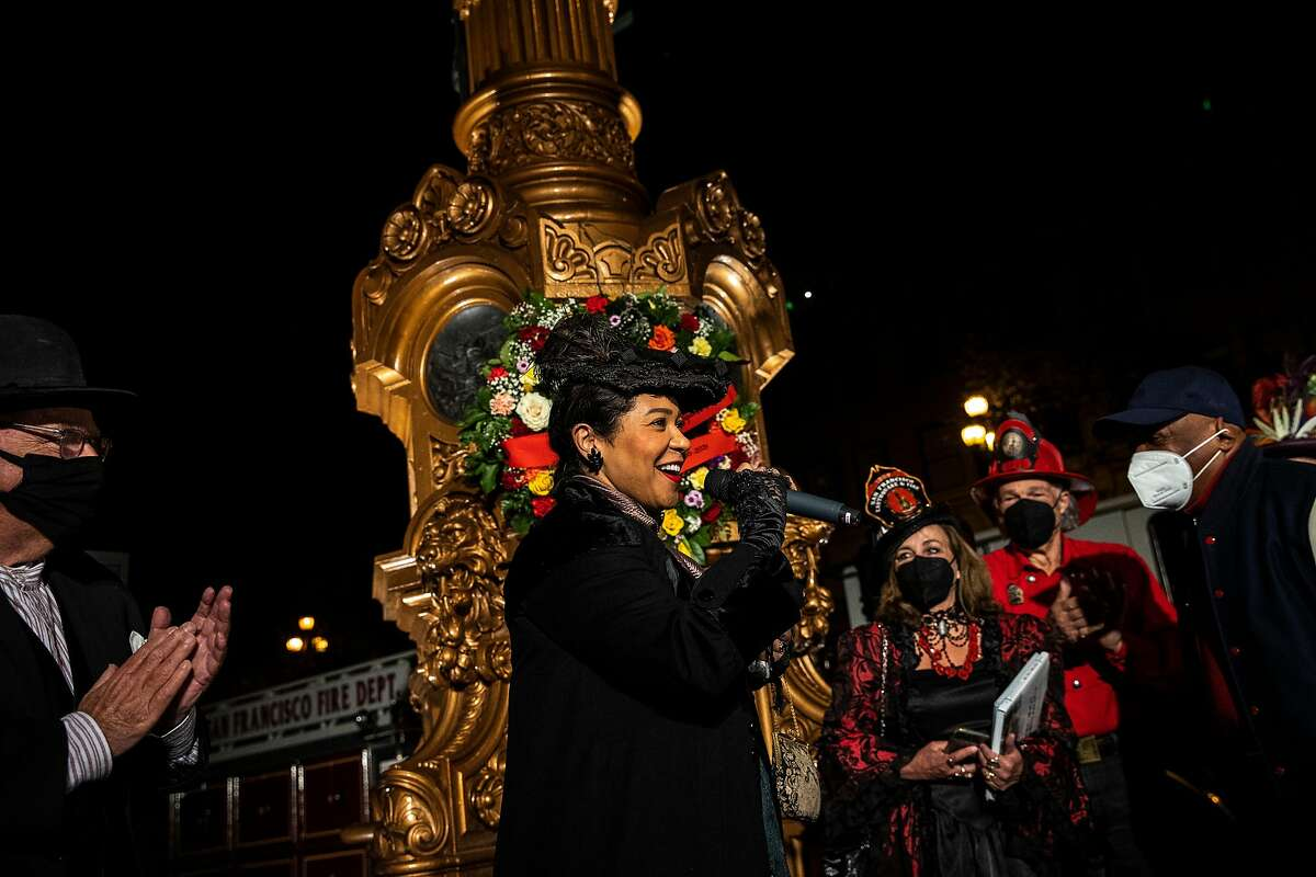 San Francisco Mayor London Breed speaks during the predawn commemoration of the 115th anniversary of the 1906 earthquake.