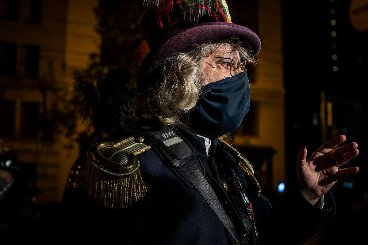 Joseph Amster, dressed as Emperor Norton, speaks in a live stream before the 115th anniversary commemoration of the 1906 earthquake.