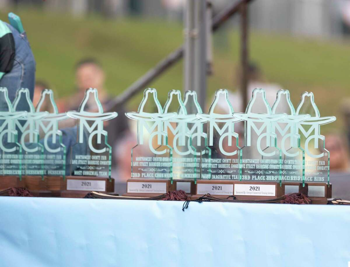 Trophies are seen during the Midnight Love Street BBQ Cookoff awards ceremony at the Montgomery County Fair & Rodeo, Saturday, April 17, 2021, in Conroe. This year an estimated 110 teams competed.