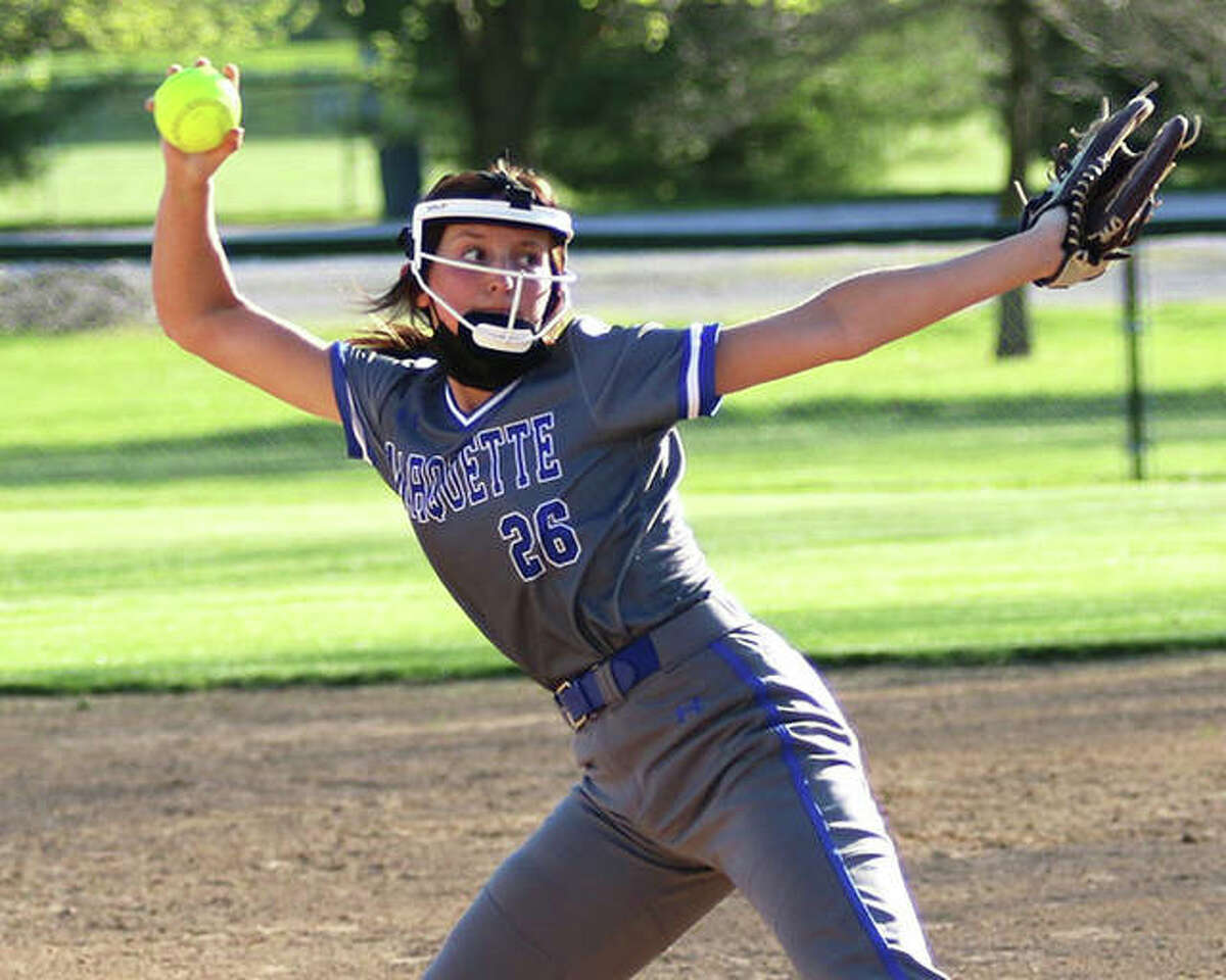 Marquette Catholic sophomore Lauren Linehan, shown in a game earlier in the week, pitched both ends of the Explorers' doubleheader split with Waterloo on Saturday at Moore Park in Alton.