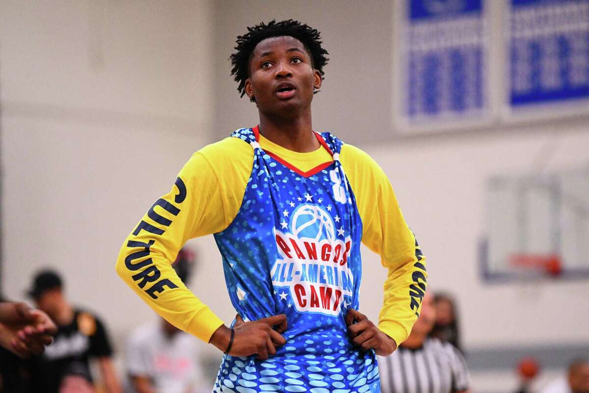 Jonathan Kuminga from Our Savior New America looks on during the Pangos All-American Camp on June 2, 2019 at Cerritos College in Norwalk, CA.