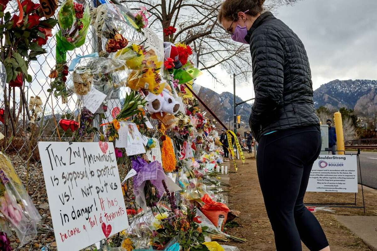 A makeshift memorial honors victims of a mass shooting at a grocery store in Boulder, Colo., last month.