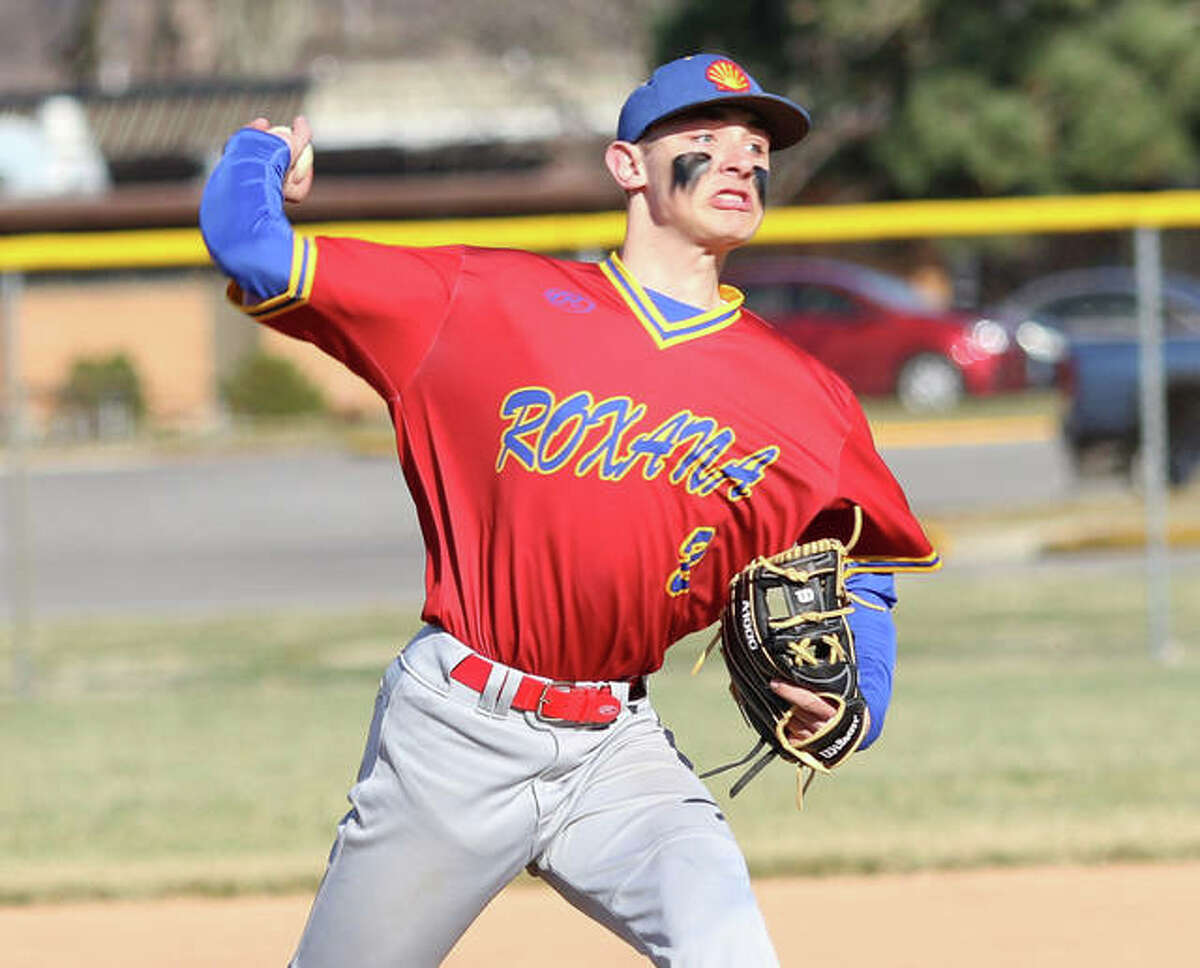 Roxana pitcher Gavin Huffman, shown in a start during his sophomore season in 2019, made his senior debut on the mound Saturday in Edwardsville and pitched six scoreless innings in a win over Metro-East Lutheran one night after playing quarterback in a Shells football game against Southwestern.