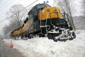 A freight train with the Housatonic Railroad in New Milford, Conn. Wednesday, Feb. 19, 2014.