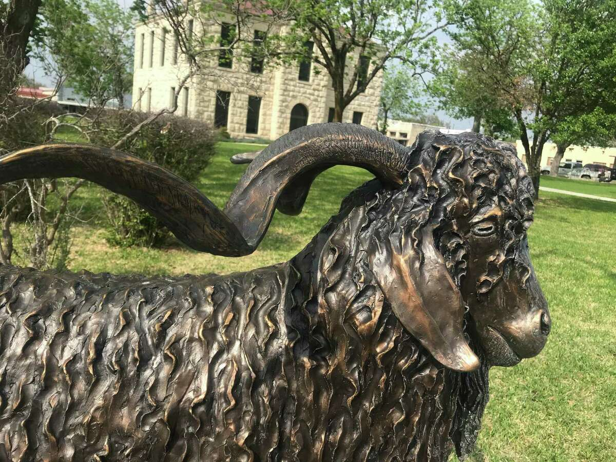 A bronze Angora goat on the courthouse square in Rocksprings commemorates the area's economic reliance on the sturdy animal.