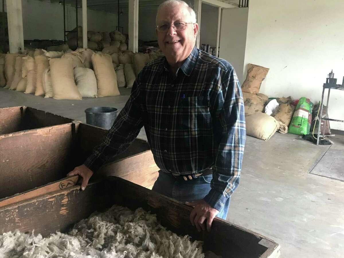 Steve Haynes, manager of Priour-Varga Wool and Mohair Warehouse in Rocksprings, was grading mohair last week. He moved back home to Rocksprings from Freeport in 1982.