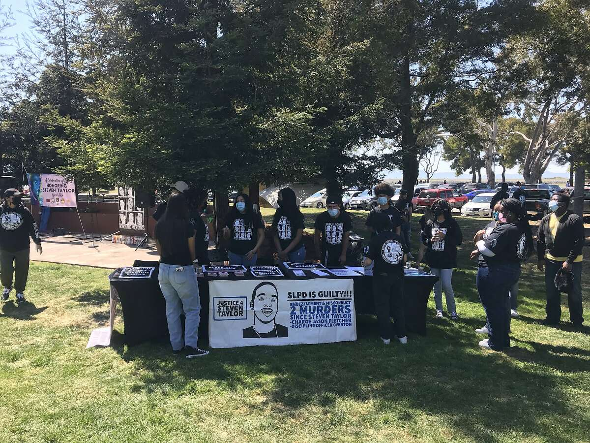 People gather at San Leandro Marina Park to honor Steven Taylor, a Black man shot and killed by police at a Walmart one year ago.
