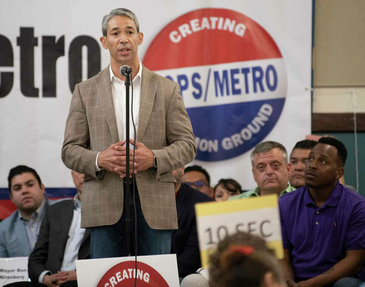 San Antonio Mayor Ron Nirenberg listens to candidates speaks during a COPS/Metro accountability session in 2019. The candidates were asked to answer yes or no to questions about housing, immigration and economic issues, including wages.