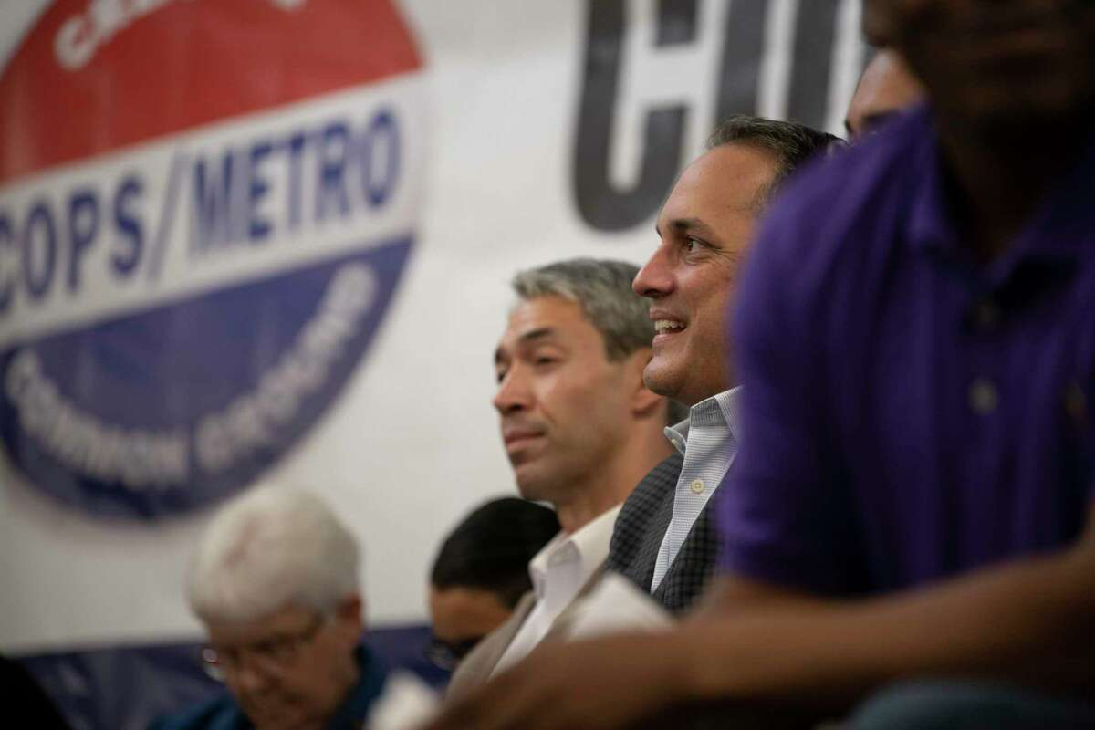 San Antonio City Council member and mayoral candidate Greg Brockhouse takes a moment to think during a COPS/Metro accountability session two years ago. Running for mayor again,k Brockhouse didn't attend a similar session on Sunday.
