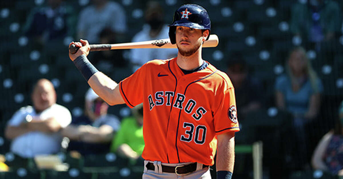 Kyle Tucker #30 of the Houston Astros reacts while at bat during the fourth inning against the Seattle Mariners at T-Mobile Park on April 18, 2021 in Seattle, Washington. (Photo by Abbie Parr/Getty Images)