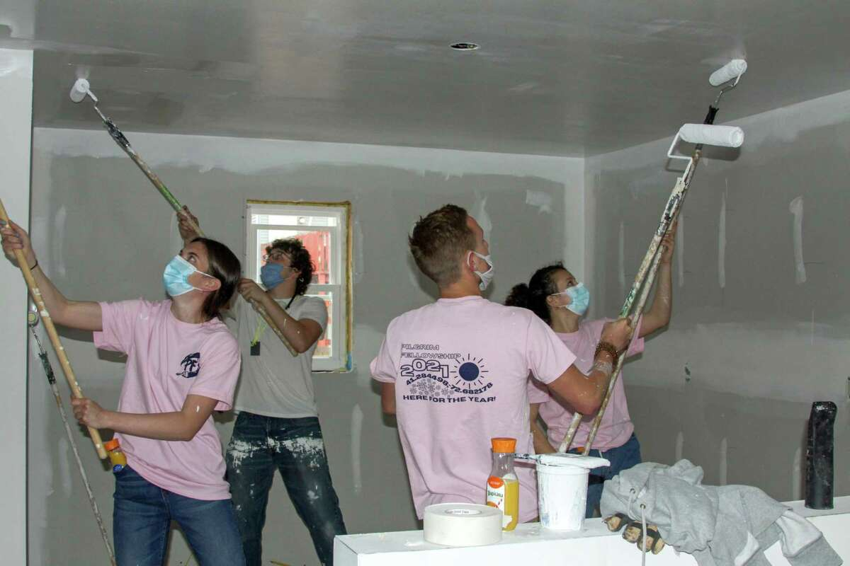 Members of Pilgrim Fellowship spent their spring breaking helping with a Habitat for Humanity project on Woolsey Street in New Haven.
