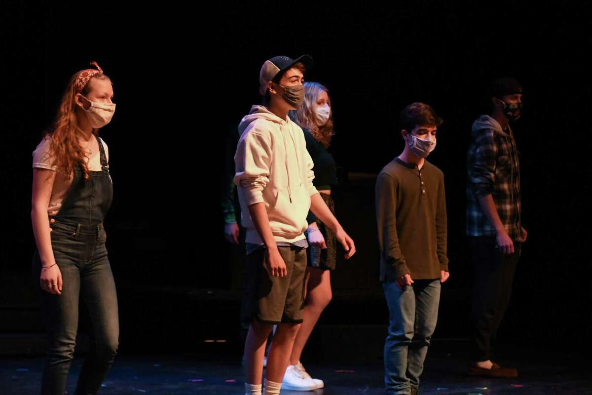 """The Trumbull High Thespian Troupe rehearses its 2021 musical, """"Working."""""""