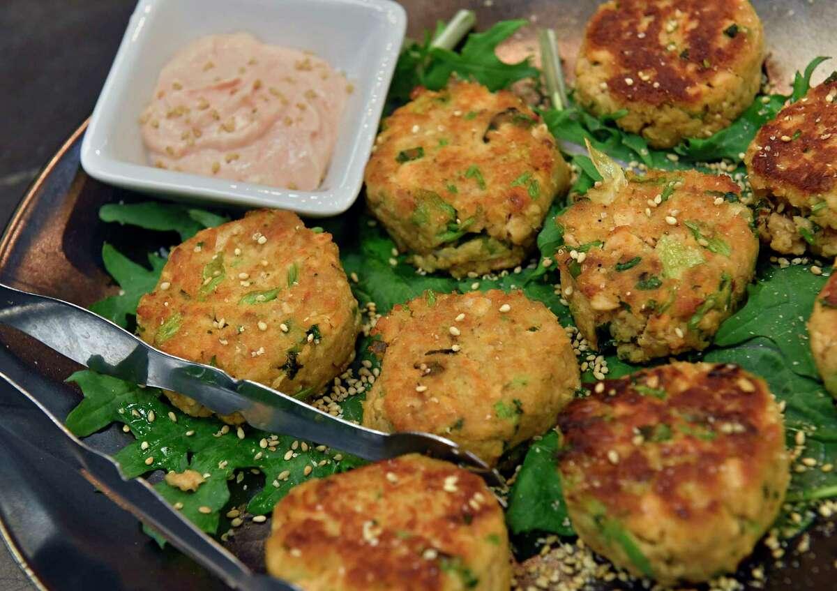 Caroline Barrett's sesame salmon meatballs at Different Drummer's Kitchen on Tuesday, April 13, 2021 in Albany, N.Y. (Lori Van Buren/Times Union)
