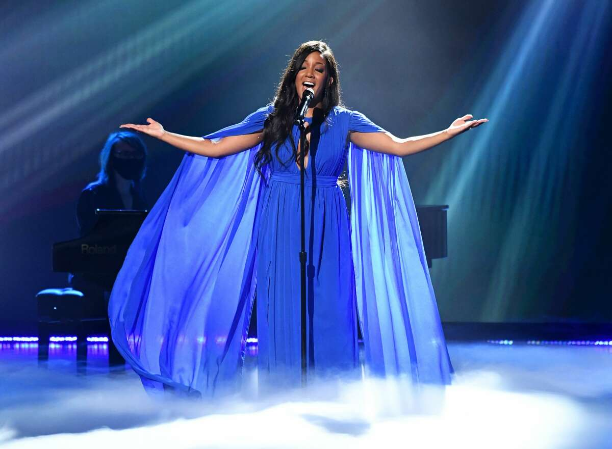 Mickey Guyton performs onstage at the 56th Academy of Country Music Awards at the Grand Ole Opry on April 18, 2021 in Nashville, Tennessee. (Photo by Kevin Mazur/Getty Images for ACM)