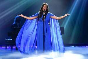 In this image released on April 18, Mickey Guyton performs onstage at the 56th Academy of Country Music Awards at the Grand Ole Opry on April 18, 2021 in Nashville, Tennessee. (Photo by Kevin Mazur/Getty Images for ACM)