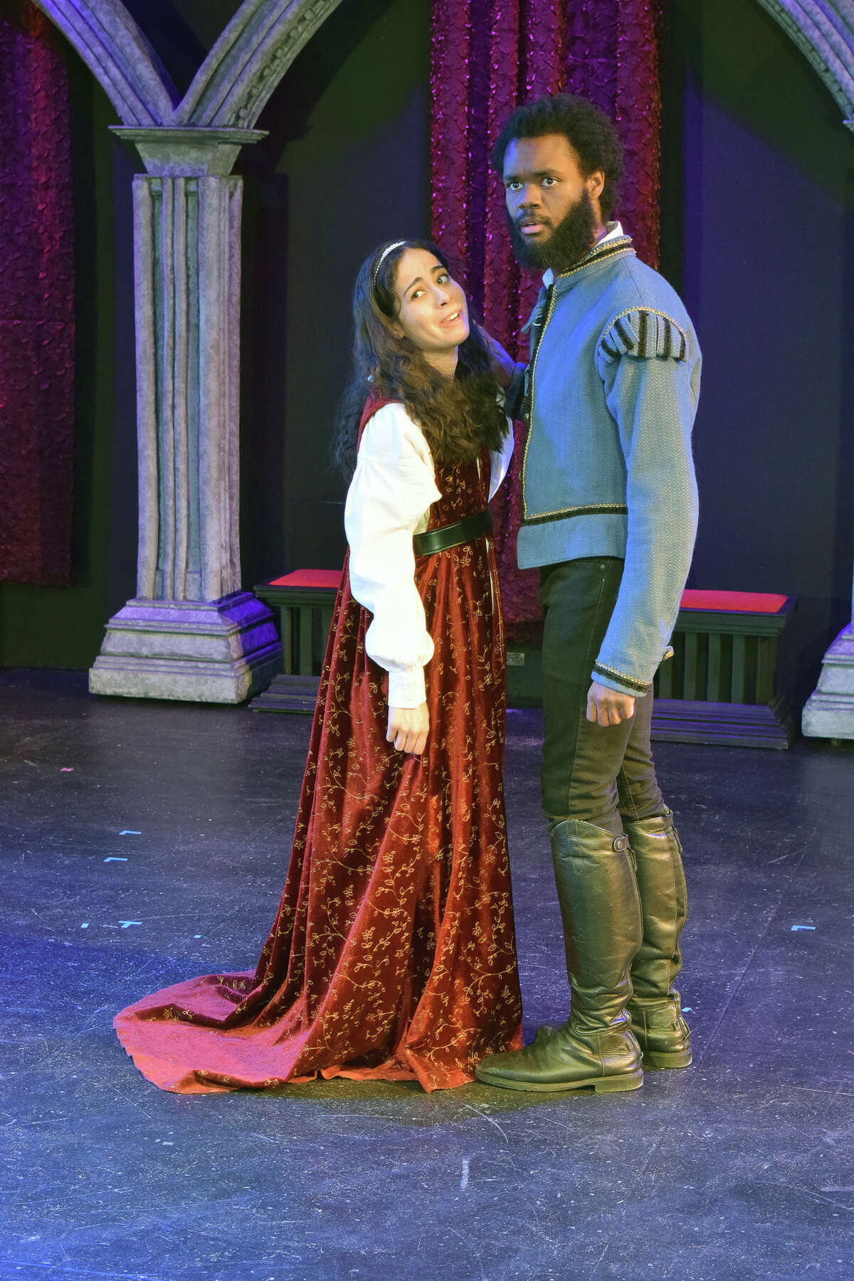 """Emily Díaz (as Juliet) and Devante Owens (as Romeo) in Northeast Regional Tour of Shakespeare's """"Shakespeare and the Language that Shaped a World."""" Photo by: Katie McKellick"""