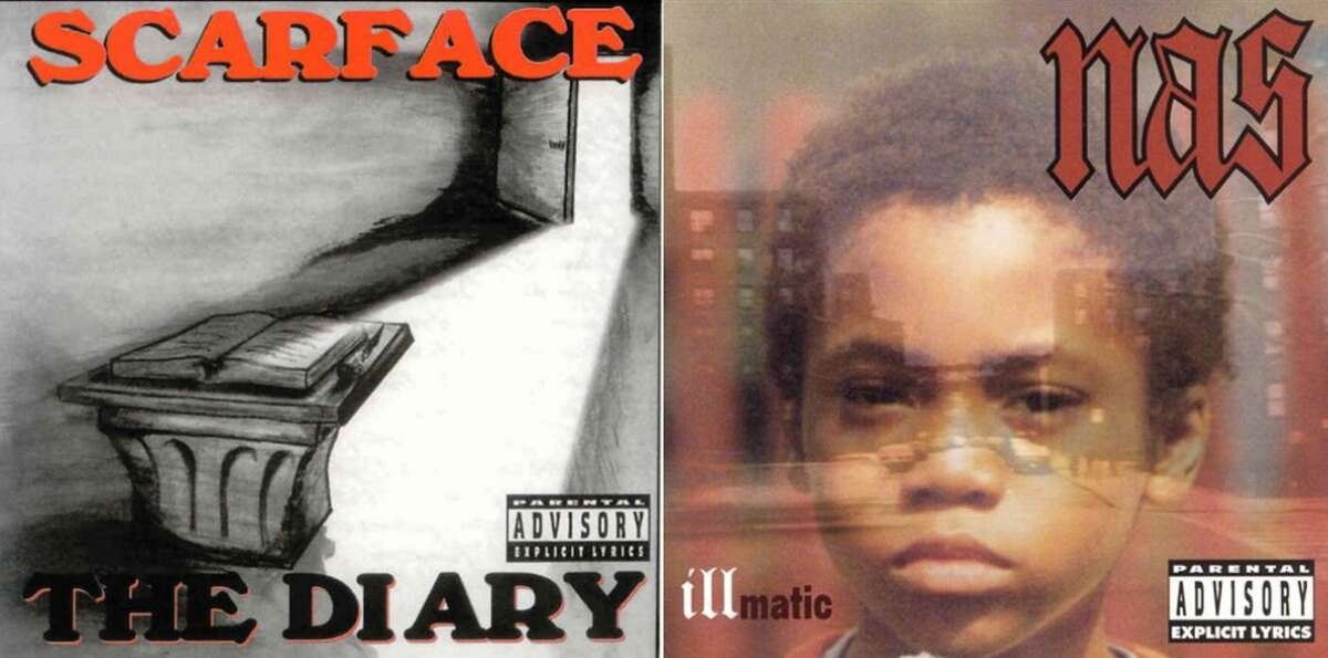 """Pictured above are Scarface's """"The Diary"""" album and Nas' """"Illmatic"""" album, released today in 1994."""
