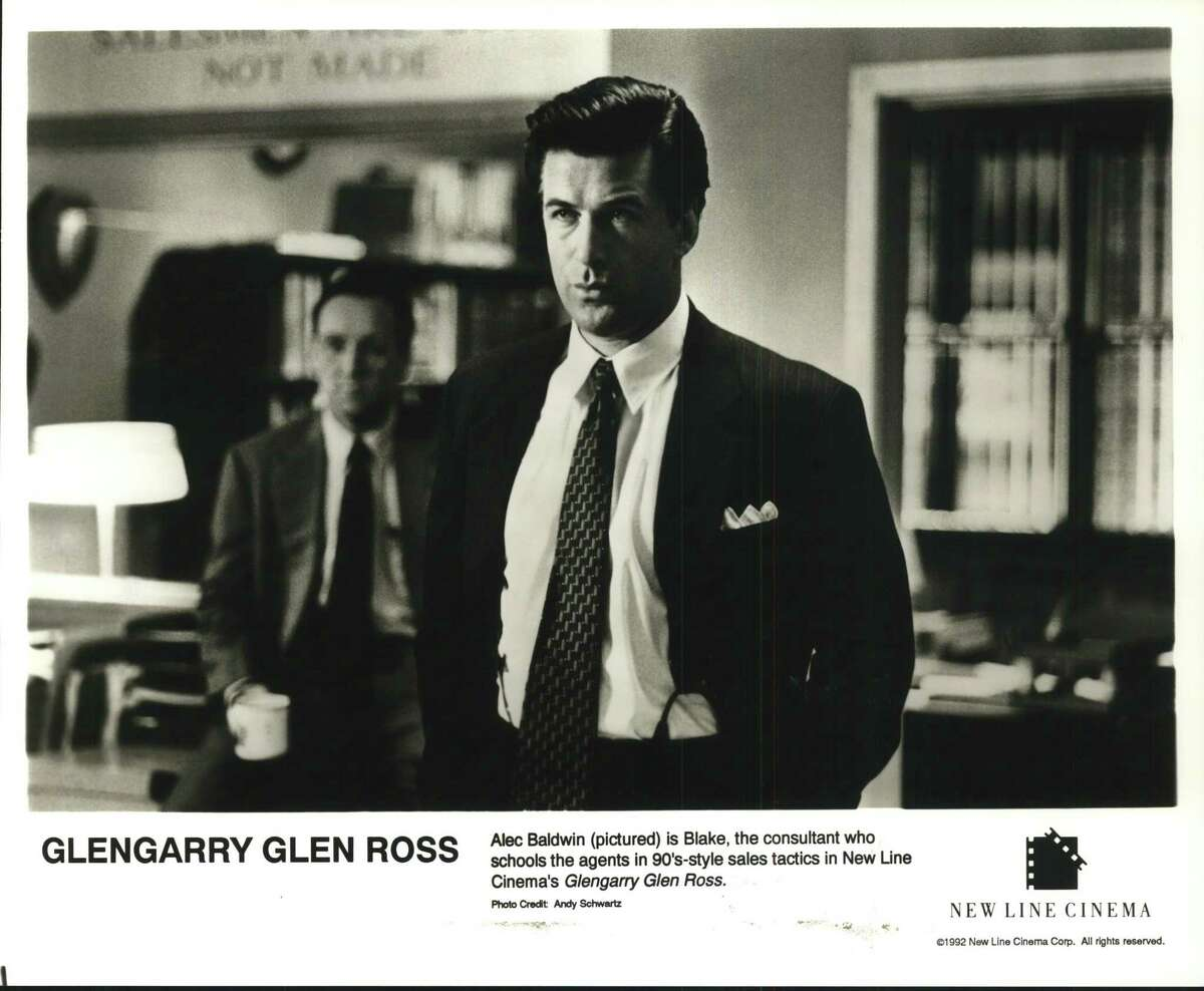 Alec Baldwin (pictured) is Blake, the consultant who schools the agents in 90's-style sales tactics in New Line Cinema's Glengarry Glen Ross.