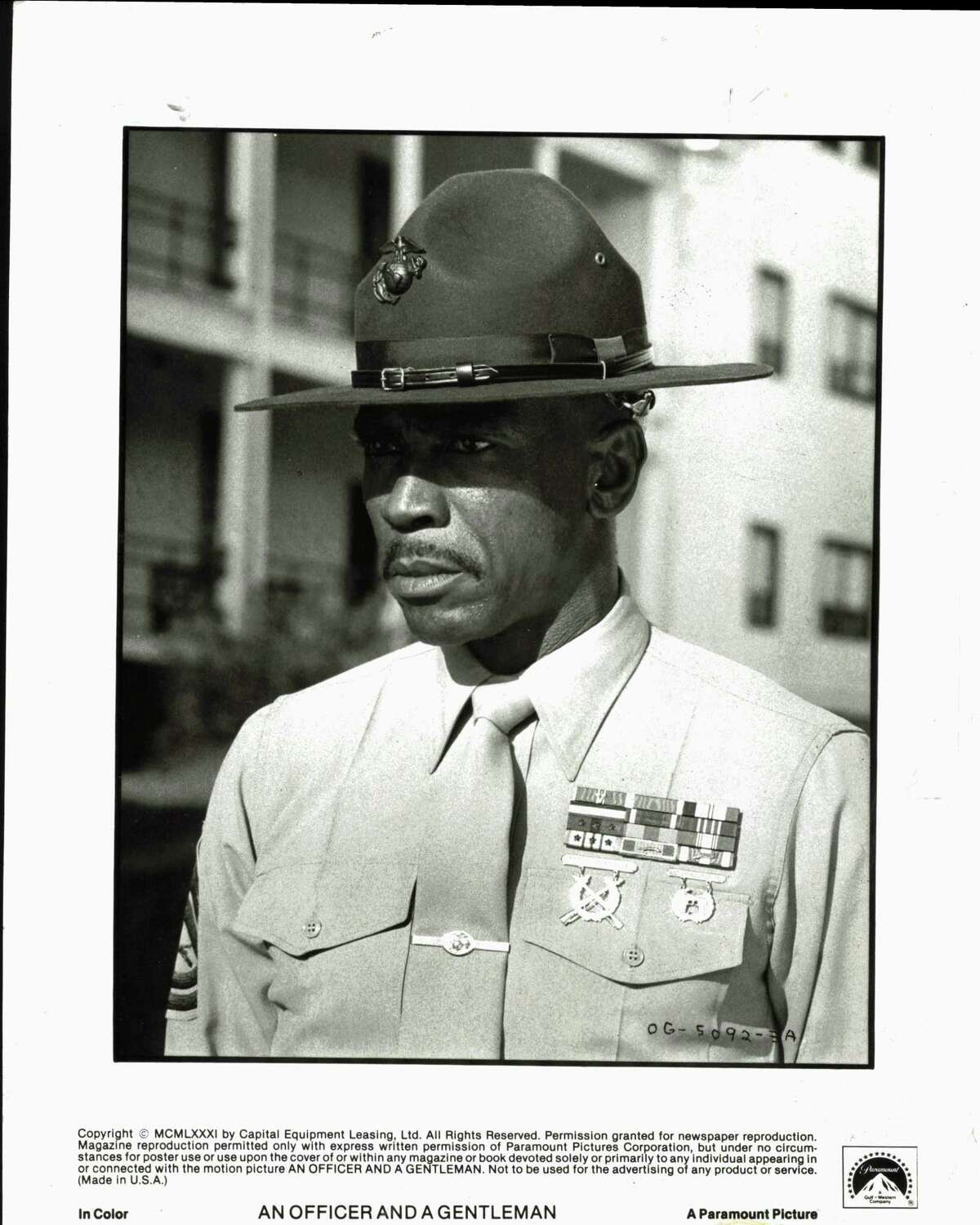 """Louis Gossett, Jr. portrays the domineering marine drill instructor, Gunnery Sergeant Emil Foley in Paramount Pictures' """"An Officer and a Gentleman."""" films"""