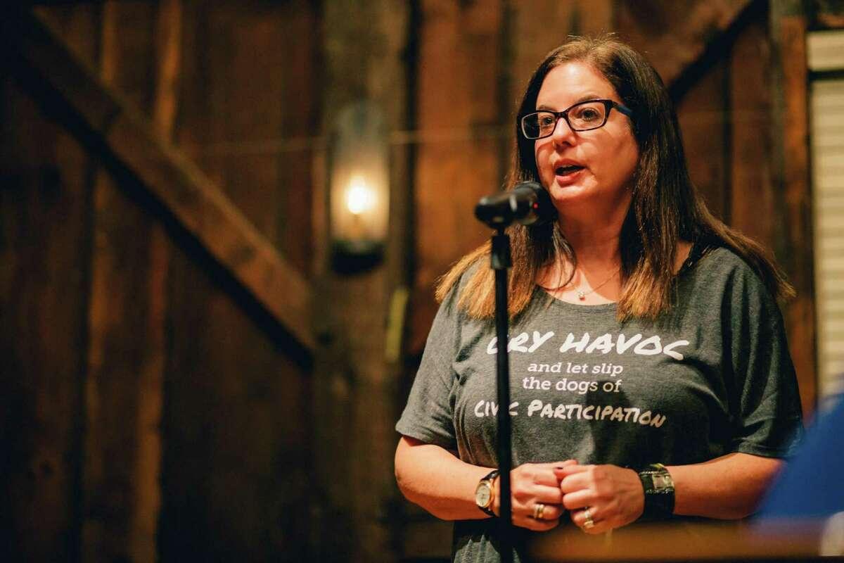 Storyteller Sarah Darer Littman at the Story Barn in the Green Historical Society, CT on Friday, November 11, 2017.