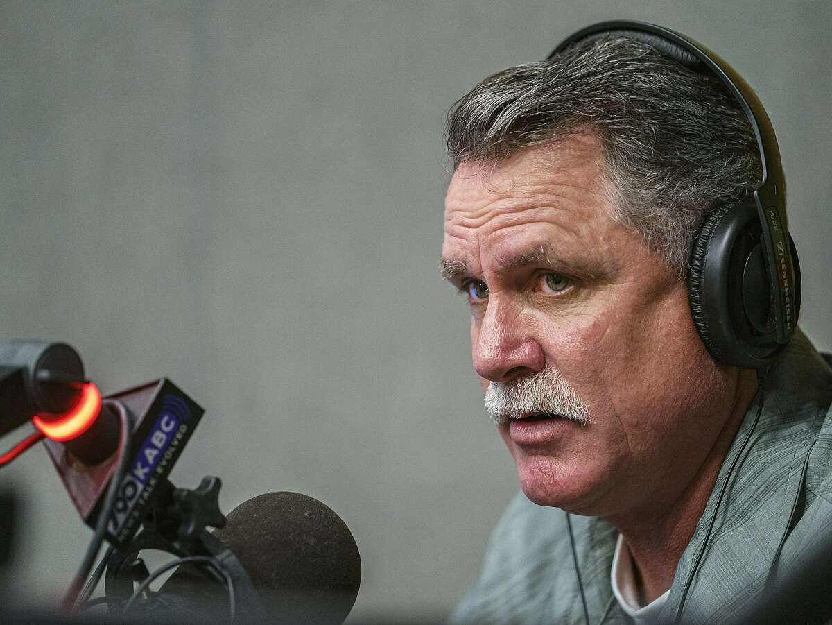 Orrin Heatlie, the main organizer for the Recall of California Gov. Newsom campaign, records a radio program at KABC.