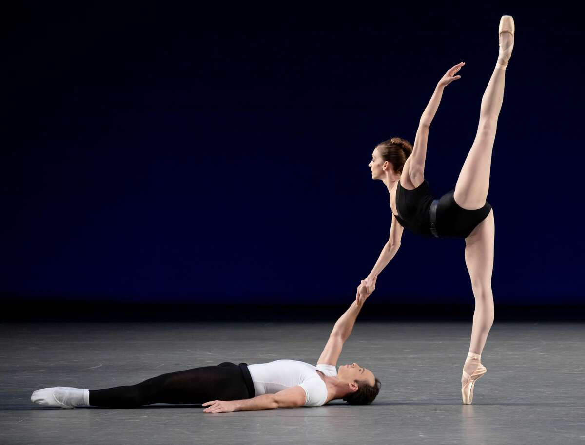 """Maria Kowroski and Tyler Angle of the New York City Ballet perform in George Balanchin's """"Agon."""" (Photo by Paul Kolnik for NYCB.)"""