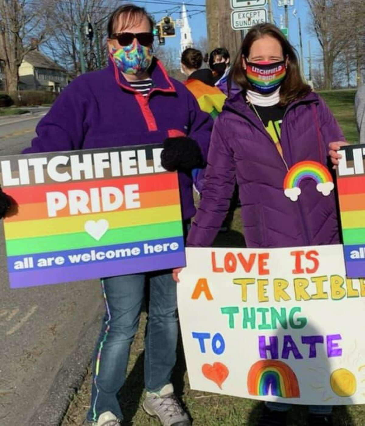 From right, Litchfield residents Sarah Carr and Julie Mitchell Lombardi at a rally for Equality, Acceptance and Love.