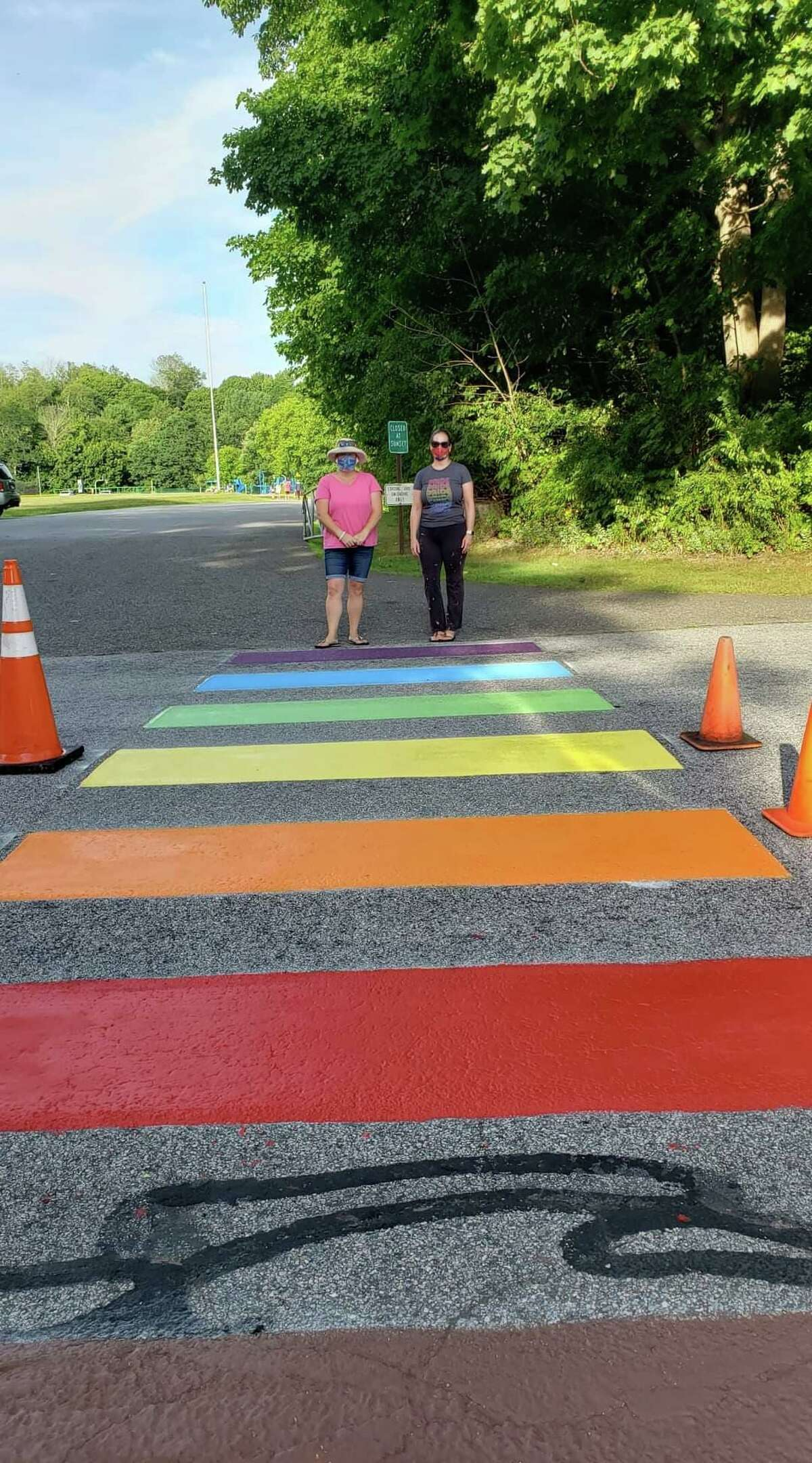 The rainbow crosswalk in Litchfield that will be repainted during Pride Month.