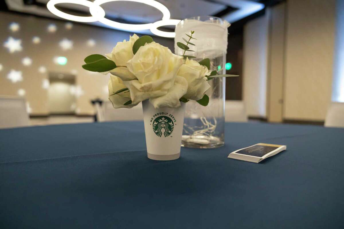 A center piece is seen for the Grand Oaks High School prom at Houston CityPlace Marriott at Springwoods Village, Saturday, April 17, 2021, in Spring. School administrators ensured that they would take measures to prevent the spread of COVID-19.