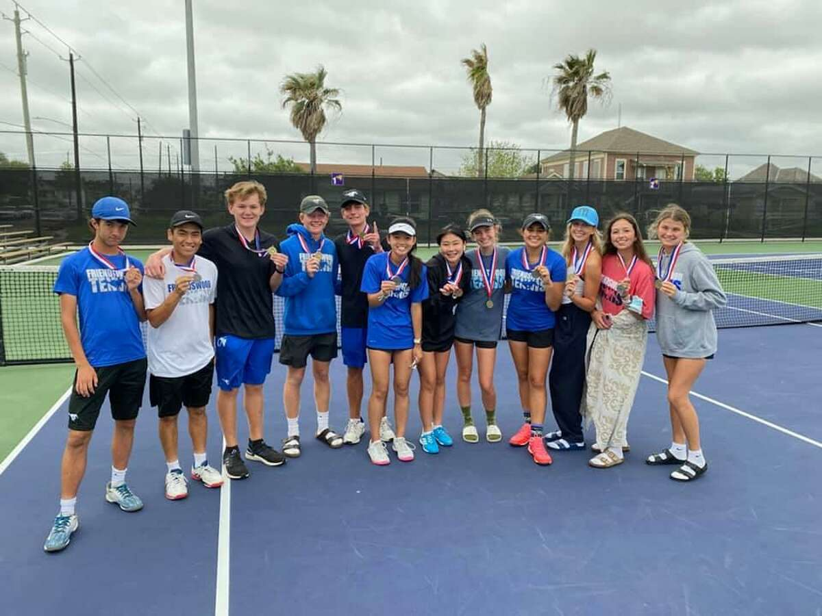 Friendswood tennis players headed to the Region III-5A tournament include (left to right) Will Hipskind, Enrique Castillo, Ethan Eberhardt, Carson Crow, Sam Bowles, Audrey Tang, Fiona Fuke, Quinn Radtke, Nandini Bhojani, Leah Block, Adri McElwain and Elle Moss.