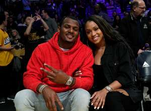Quarterback Deshaun Watson of the Houston Texans and Jilly Anais attend the Los Angeles Lakers and Memphis Grizzlies basketball game at Staples Center on February 21, 2020 in Los Angeles, California. (Photo by Kevork S. Djansezian/Getty Images)