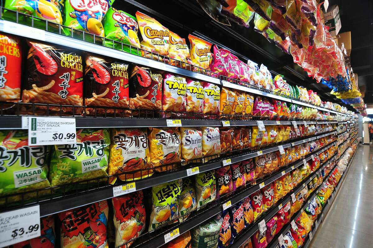 This is an H Mart in Katy, Texas, with tons of snacks on display.