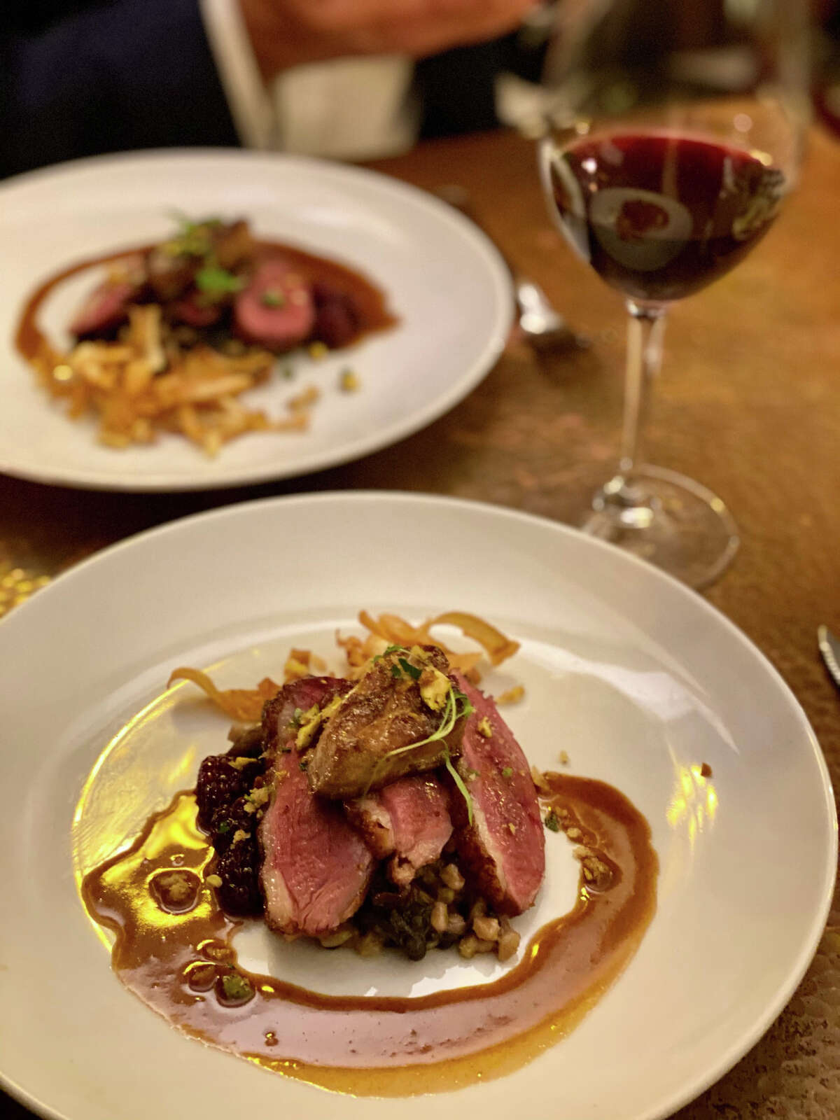 A duck duo features searedbreastwith foie gras as part of the seven-course tasting menu at Jack's Oyster House in Albany. (Susie Davidson Powell for the Times Union.)