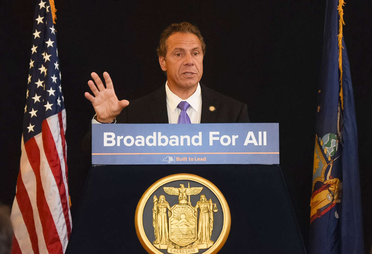 Gov. Andrew Cuomo announces broadband improvements during a presentation at the Hudson Area Library on Wednesday, Aug. 3, 2016, in in Hudson, N.Y. (Photo: Don Pollard/Office of Governor Andrew M. Cuomo)