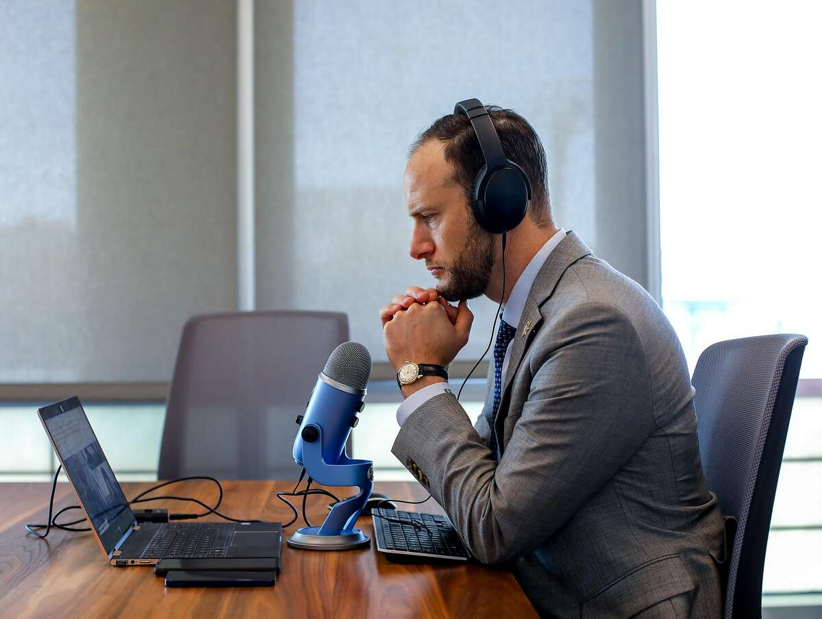 San Francisco District Attorney Chesa Boudin participates in a podcast in the Ginsburg Conference Room at the San Francisco District Attorney's Office on April 9. Boudin, who's been in office for over a year, faces a recall campaign.