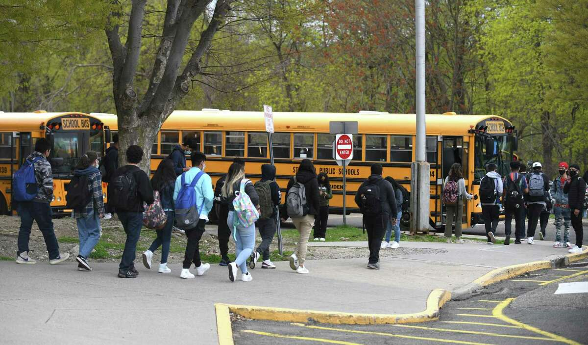 Students at Westhill High School in Stamford, Conn. Monday, April 19, 2021.