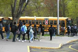 For the first time in the 2020-2021 school year, students return to a full-time in-person schedule at Westhill High School in Stamford, Conn. Monday, April 19, 2021. All three of Stamford's public high schools returned to five days-a-week in-person learning for the first time since the start of the COVID-19 pandemic.