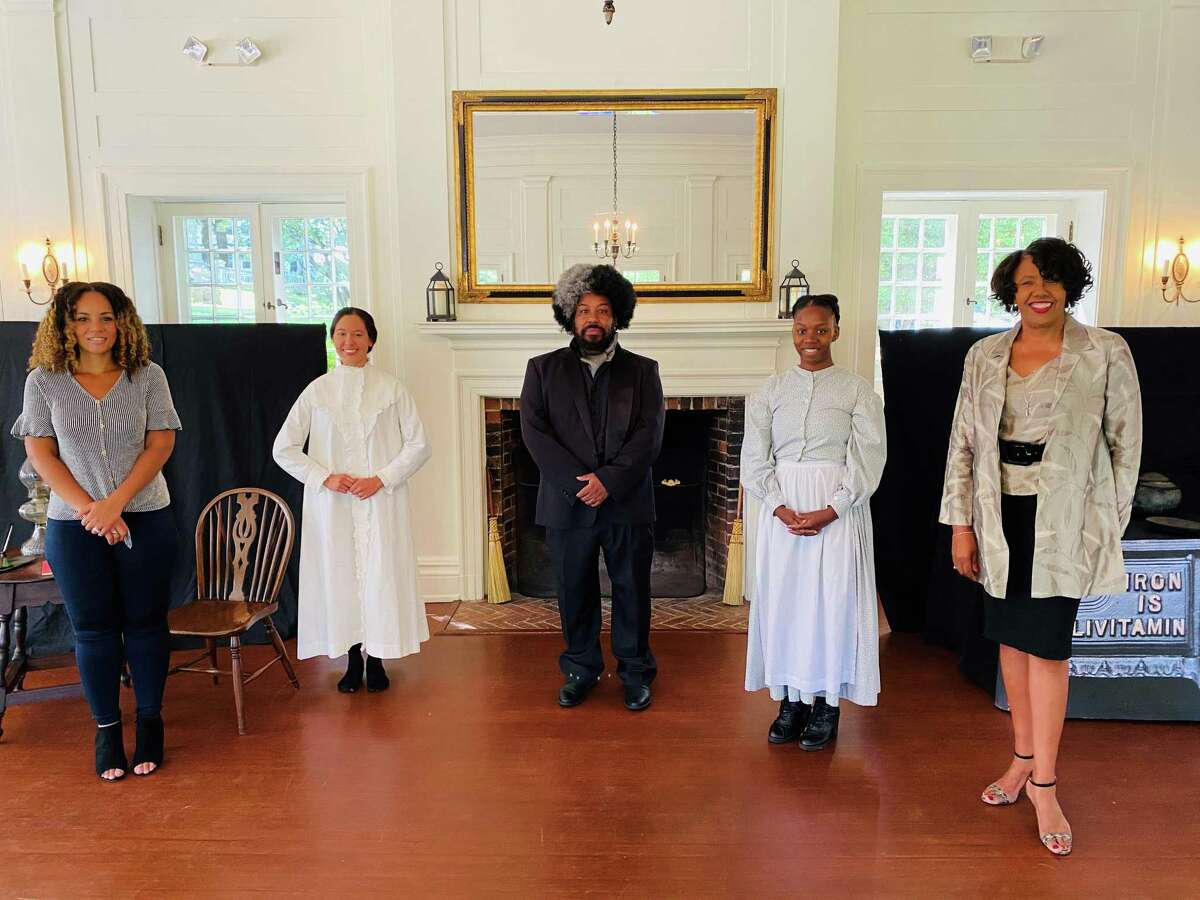 Contributors to the SISTERS project pose after a livestreamed production at the Keeler Tavern Museum & History Center in Ridgefield. From left to right, choreographer Sharece Sellem, actors Catherine Luciani, Gregg Cork and Valerie Brookshire, and director Kimberly Wilson.