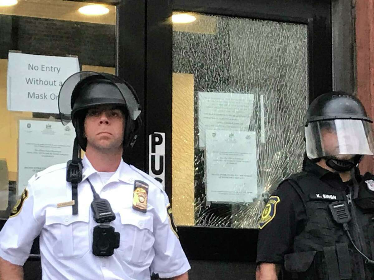 Police and protesters clashed at the South Station Wednesday night in Albany.