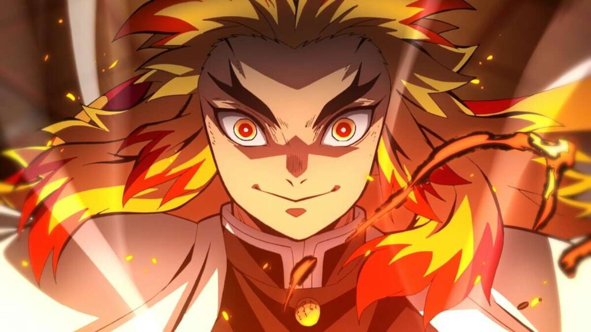 """It's just another 13-year-old boy trying to save his sister who has turned into a demon aboard an early-20th century train in Japan by asking to be mentored by the world's greatest demon slayer (Rengoku, above) kind of story, in """"Demon Slayer - Kimetsu No Yaiba - The Movie: Mugen Train."""""""