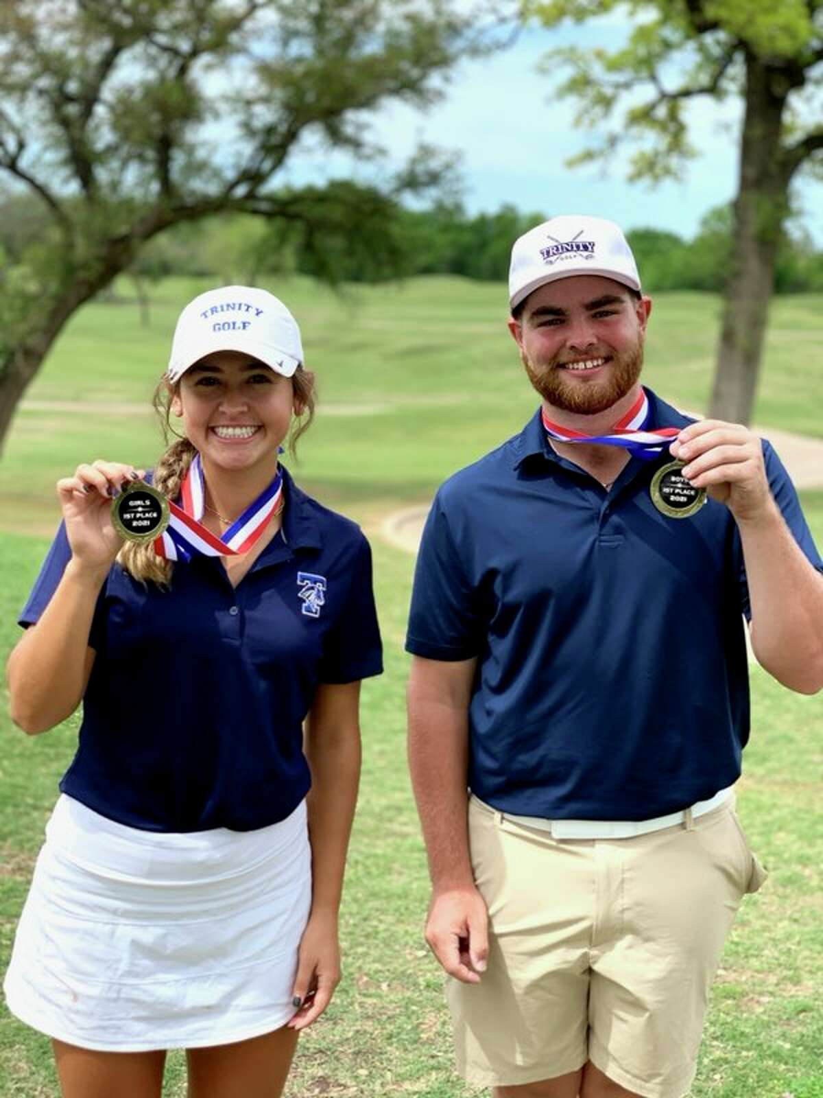 Trinity's Ali Escamilla and Davis Seybert won their respective medalist titles at the TAPPS 4A North Region Tournament on Monday at Squaw Valley Golf Course in Glen Rose.