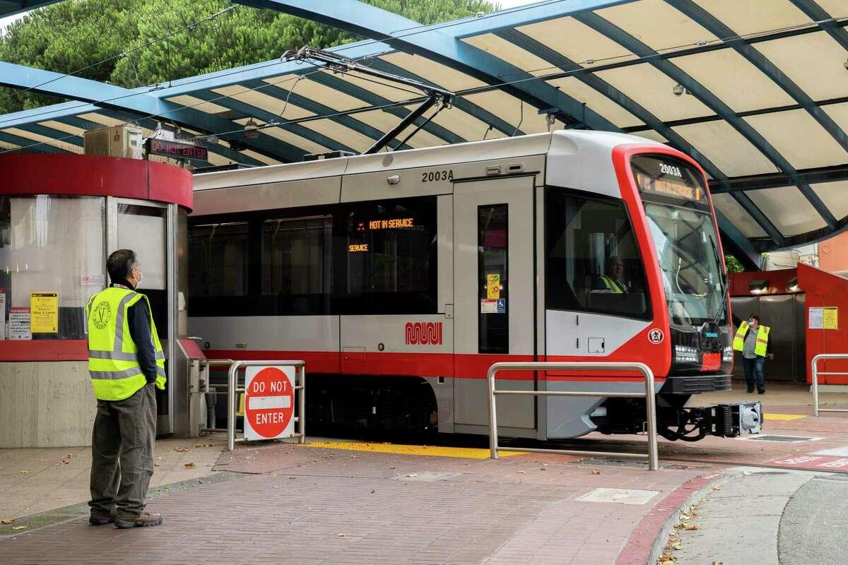 Muni Metro Light Rail departs the West Portal Station in July 2020.