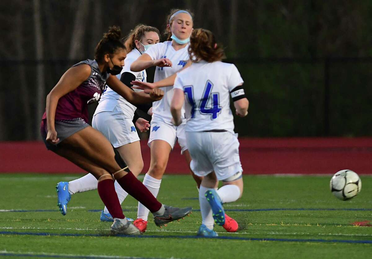 Stillwater's Trinity Cutler scores her second goal in the first half during a soccer game against Hoosic Valley on Monday, April 19, 2021 in Stillwater, N.Y. (Lori Van Buren/Times Union)