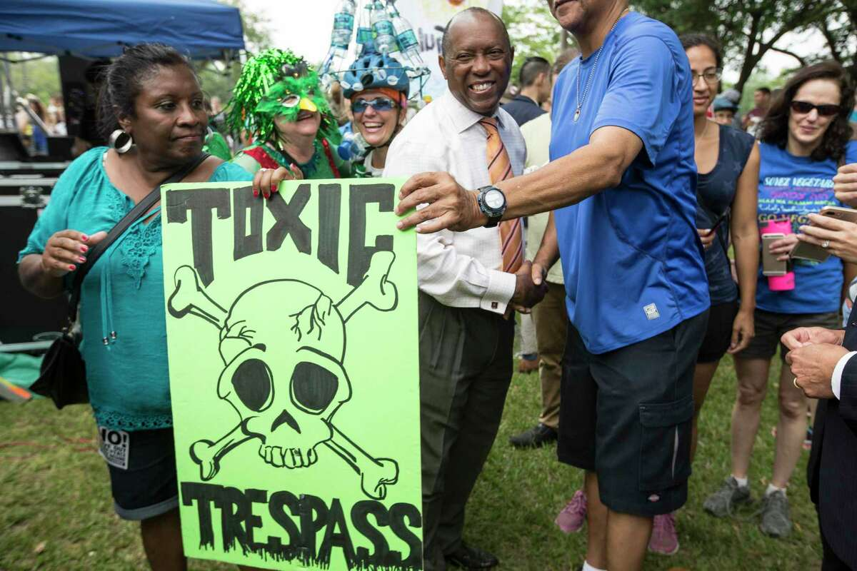 Mayor Sylvester Turner stops to speak to demonstrators during the Houston Climate March rally at Clinton Park on Saturday, April 29, 2017, in Houston. ( Brett Coomer / Houston Chronicle )