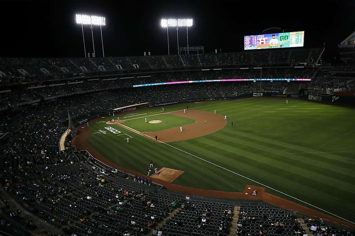 Oakland Athletics play Houston Astros in season opener at Oakland Coliseum in Oakland, Calif., on Thursday, April 1, 2021.