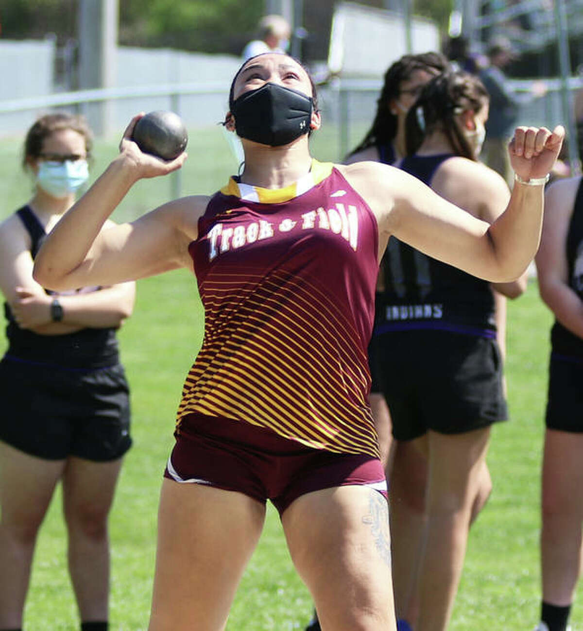 EA-WR's Jayden Ulrich gets off a throw for a school-record 48-6 in the shot put Monday afternoon in a four-team meet at Bethalto.