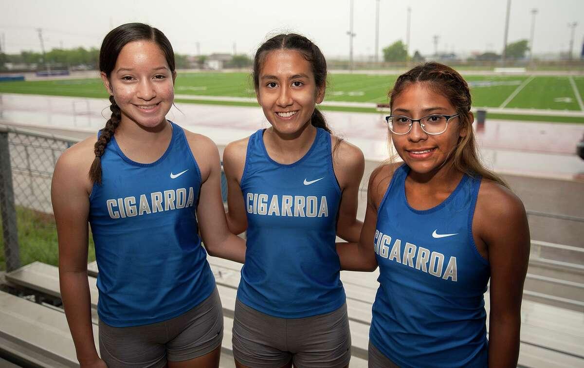 Emily Loredo, Itzel Rojo and Marlen Castillo will represent Cigarroa on Friday at the Region IV-5A Track & Field Championships in San Antonio.